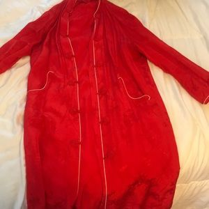 Vintage red chinoiserie robe